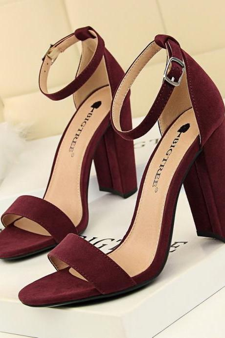 Block Heel Front Open High Heel Sandal