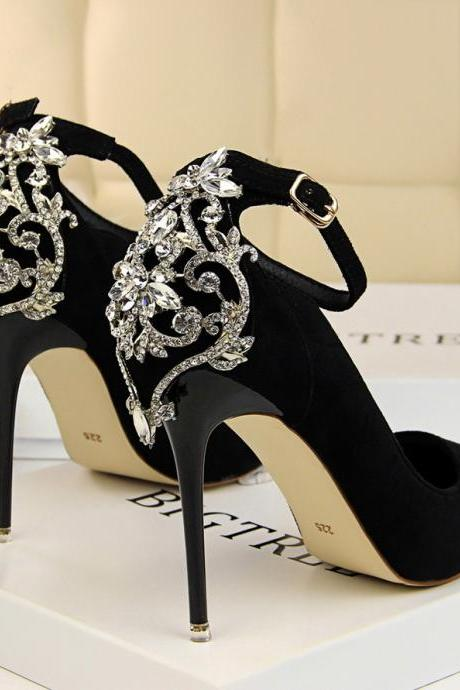 Rhinestone Studded High Heels