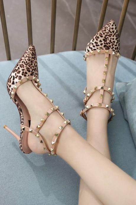 Leopard Print Pointed Rivet High Heels