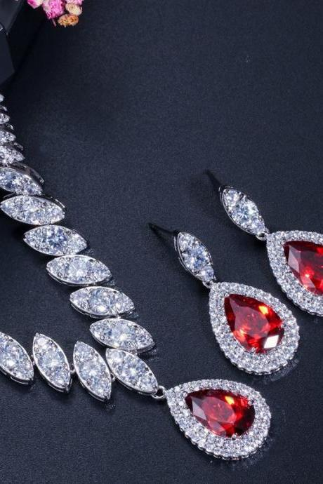 CZ Diamond Nigerian Big Water Drop Red Crystal Wedding Bridal Jewelry Sets Gifts For Bridesmaids