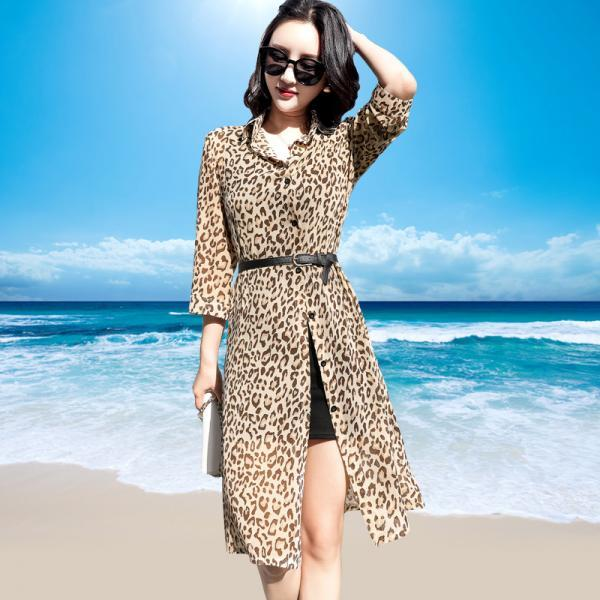 Leopard Print Long Chiffon Sunscreen Shrug with Belt